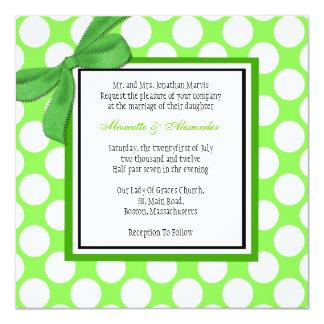 Green Polka Dot Wedding Invitation