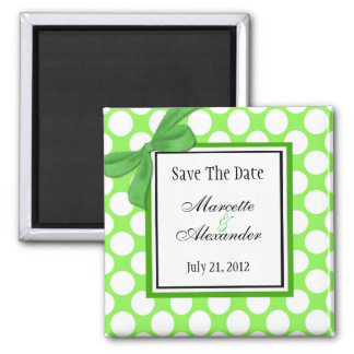 Green Polka Dot Wedding Save The Date 2 Inch Square Magnet