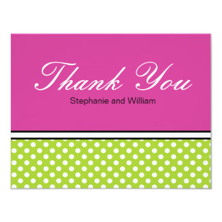 Green Polka Dot With Pink Wedding Thank You Card
