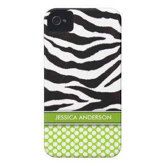 Green Polka Dot Zebra Stripe iPhone 4 Case-Mate Case-Mate iPhone 4 Case