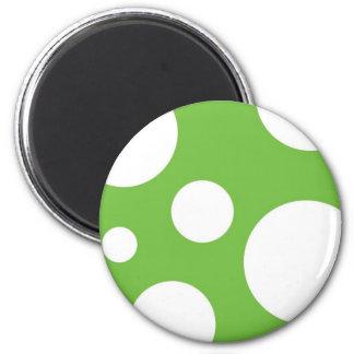 Green Polka Dots 2 Inch Round Magnet