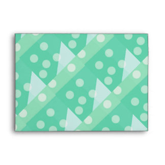Green Polka Dots and Triangles Envelope