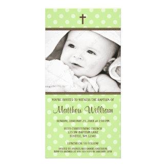 Green Polka Dots Brown Cross Baptism Photo Card
