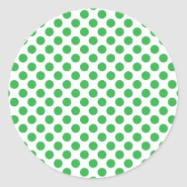 Green Polka Dots Classic Round Sticker