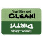 Green Polka Dots Clean Dirty Dishwasher W1419 Flexible Magnets