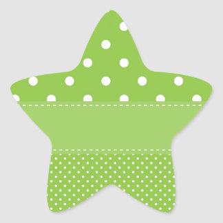Green Polka Dots Delicate Bridal or Baby Shower Star Sticker
