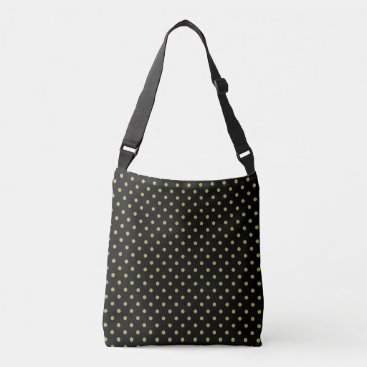 Beach Themed Green polka dots design on black crossbody bag