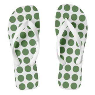 Green Polka Dots Flip Flops