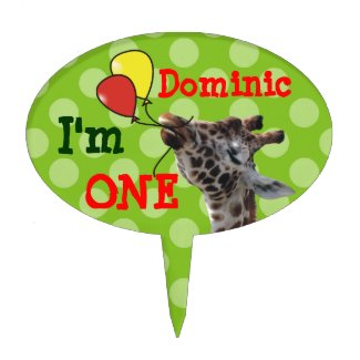 Green Polka Dots Giraffa 1st Birthday Cake Topper
