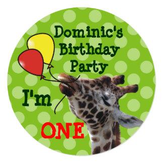 Green Polka Dots Giraffa Birthday Invitations
