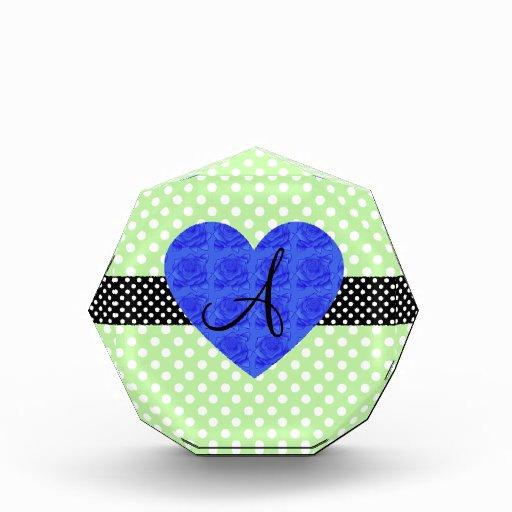 Green polka dots monogram blue roses awards