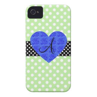 Green polka dots monogram blue roses Case-Mate iPhone 4 case