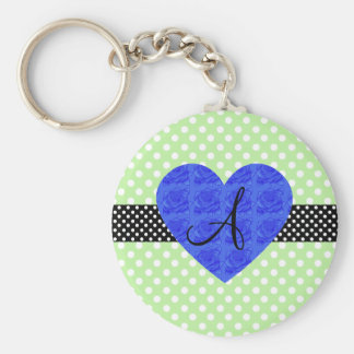 Green polka dots monogram blue roses keychain