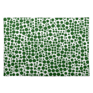 Green Polka Dots on White Background Cloth Placemat