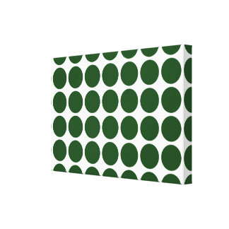 Green Polka Dots on White Canvas Print