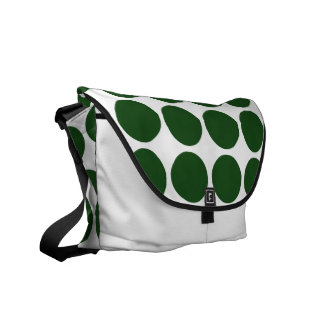 Green Polka Dots on White Courier Bag