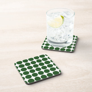 Green Polka Dots on White Drink Coaster