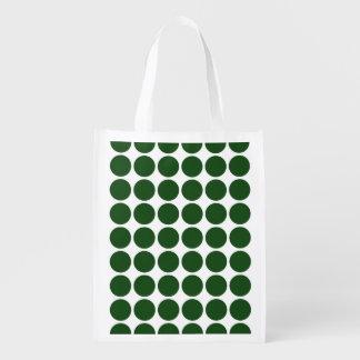 Green Polka Dots on White Grocery Bag