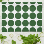 Green Polka Dots on White Hand Towels