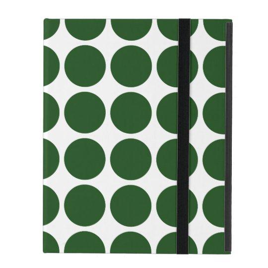 Green Polka Dots on White iPad Folio Case