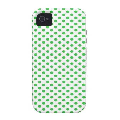 Green Polka Dots on White iPhone 4/4S Cases
