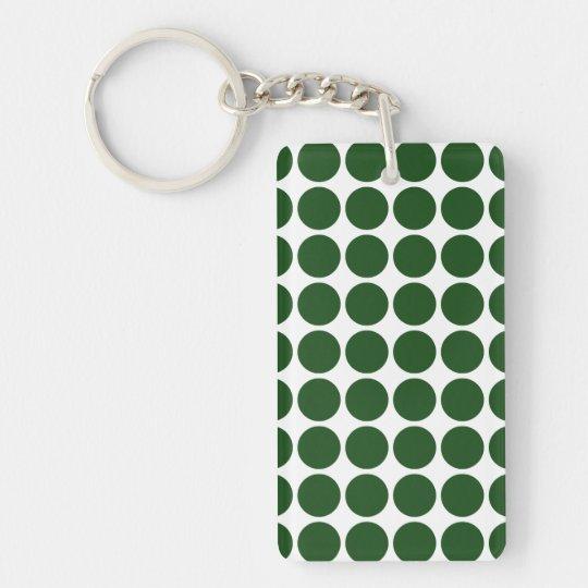 Green Polka Dots on White Keychain