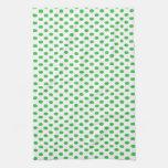 Green Polka Dots on White Kitchen Towels