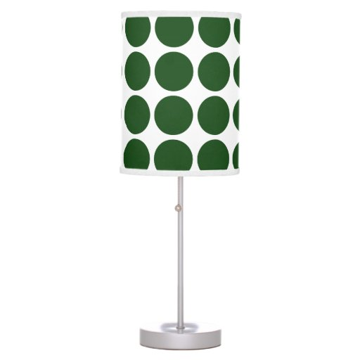 Green Polka Dots on White Lamps
