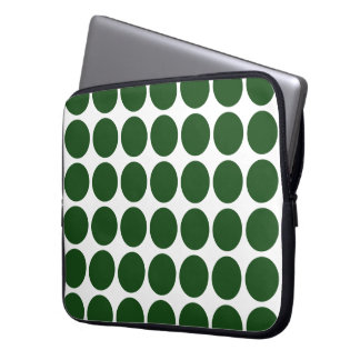 Green Polka Dots on White Laptop Sleeve