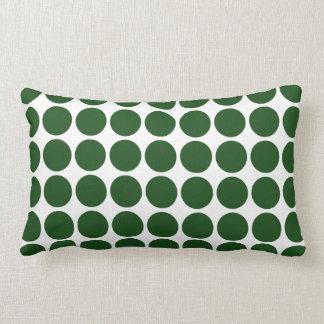 Green Polka Dots on White Pillows