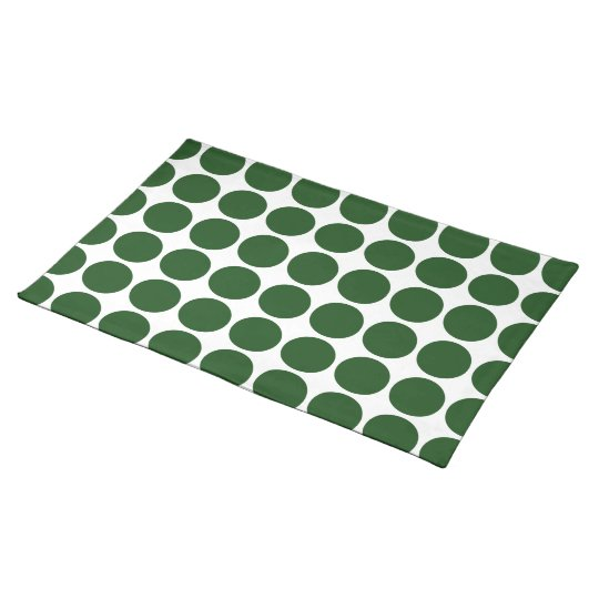 Green Polka Dots on White Placemat