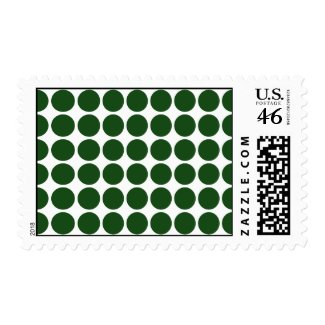 Green Polka Dots on White Postage Stamp