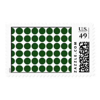 Green Polka Dots on White Postage Stamps