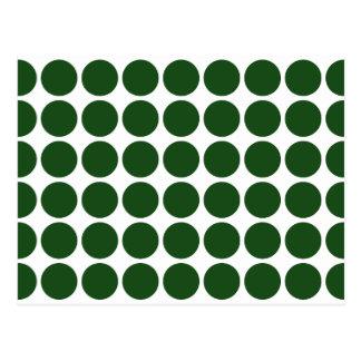 Green Polka Dots on White Postcard