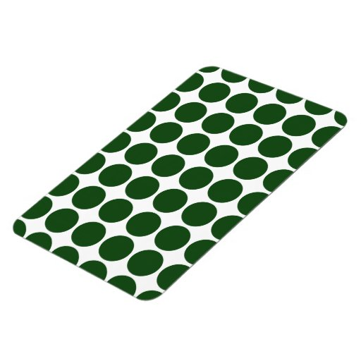 Green Polka Dots on White Rectangle Magnets