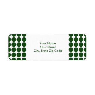 Green Polka Dots on White return address label