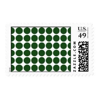 Green Polka Dots on White Stamp