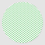 Green Polka Dots on White Stickers