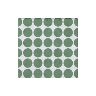 Green Polka Dots on White Stone Magnet
