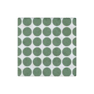 Green Polka Dots on White Stone Magnet