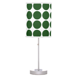Green Polka Dots on White Table Lamp
