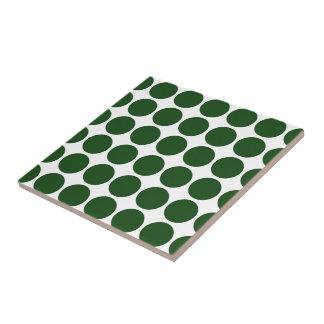 Green Polka Dots on White Tile