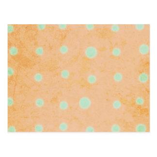 Green polka dots Orange Chic Postcard