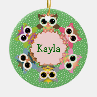 Green Polka Dots Owl Wreath Personalized Christmas Tree Ornaments