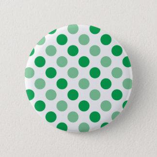 Green polka dots pattern pinback button