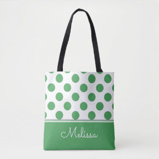 Green Polka Dots | Personalized Tote Bag