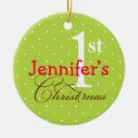 Green polka dots pink name cute baby first holiday christmas tree ornaments