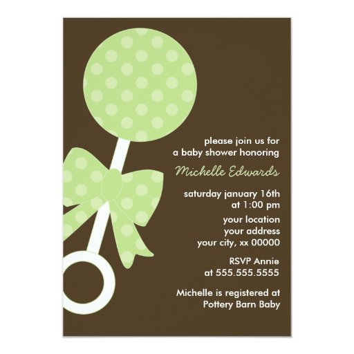 Green Polka Dots Rattle Baby Shower 5x7 Paper Invitation Card