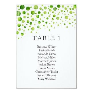 Green polka dots seating chart. Wedding table plan Card