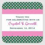 Green Polka Dots Thank You Double Lace Wedding V23 Sticker